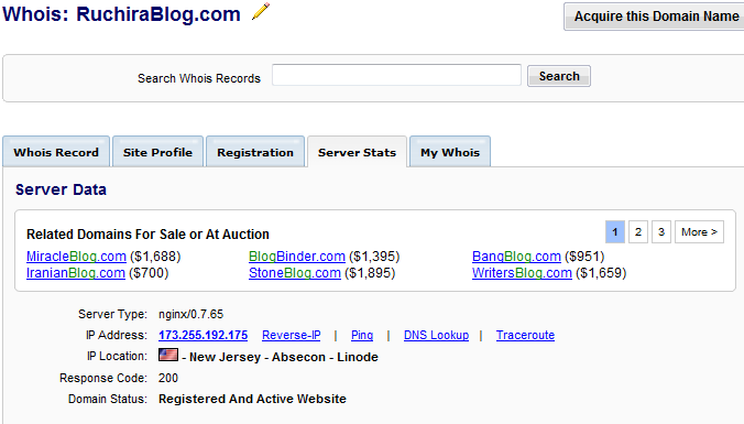 ruchirablog serverinfo My Favourite Whois checker tool
